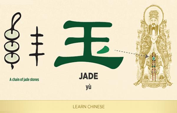 玉 (yù) est un autre mot dont la racine est l'idéogramme du roi, 王 (wáng). La seule différence est le point dans la partie basse à droite, qui ressemble à une amulette sur la robe du roi. (Image: Shen Yun Performing Arts)