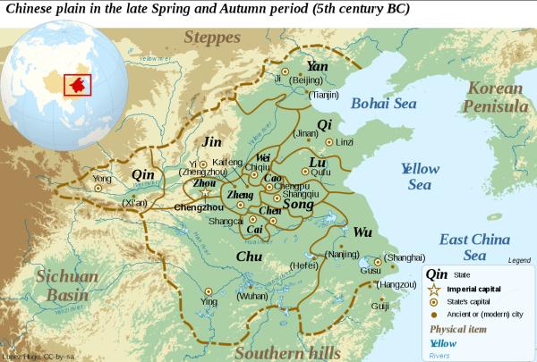 Fin de la période des Printemps et Automnes, Ve siècle av. J.-C. (Image: Yug via wikimedia)