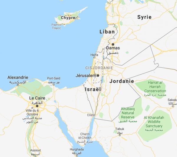Jérusalem et la Terre Sainte : comprenant Tel Aviv et Petra.(Image: Google map)