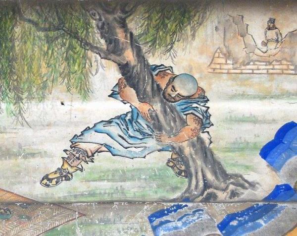 Fresque murale du XIXe siècle représentant Lu Zhishen déracinant un arbre, tirée du roman Au bord de l'eau, également appelé Le Récit des berges, a été écrit au XIVe siècle par Shi Nai'an (Shī Nài Ān). Le cœur de l'intrigue repose sur les exploits de brigands justiciers, qui vivent pendant la dynastie Song. (Shizhao/Wikipédia)