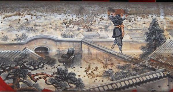 Shi Qian, un voleur très habile dans le roman « Au bord de l'eau » du XIVe siècle. (Image : Wikimedia / shizhao (talk) / 拍摄,画者不明 / Domaine public)