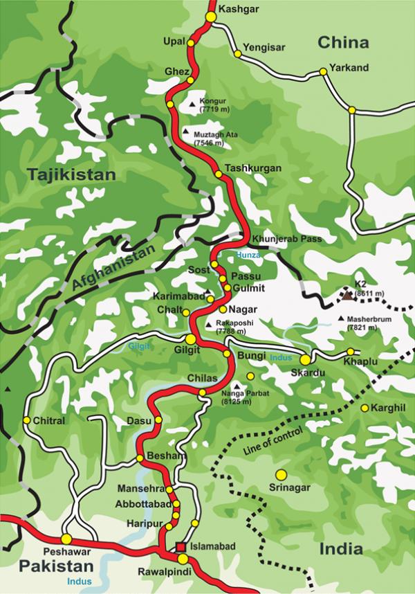 La route du Karakoram. (Image: Wikipedia )