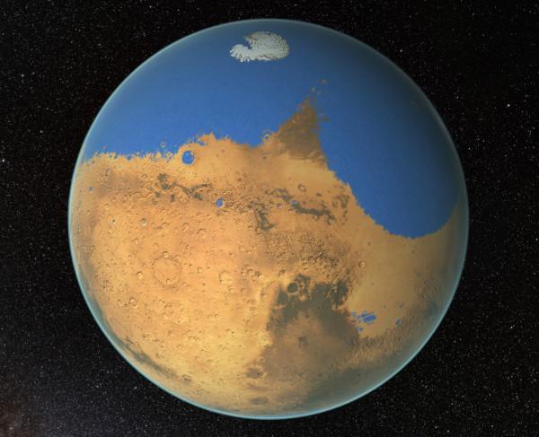 Il y a des milliards d'années, Mars aurait pu ressembler à ceci, avec un océan couvrant une partie de sa surface. (Image: NASA / GSFC)