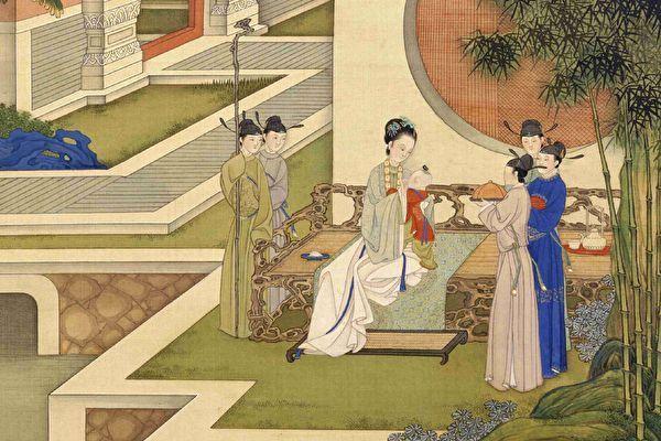 L'impératrice douairière Ma a dit un jour à l'empereur Hanzhang : « Lorsque le monde et que les gens seront en paix, je pourrai passer du temps avec mes petits-fils et je ne serai plus impliqué dans les affaires politiques ». (Image : Manger du bonbon et jouer avec les petits-enfants (en partie), Album des impératrices vertueuses, Dynastie Qing (1644-1911) / ET)