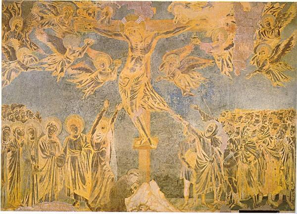 L'immense scène de la crucifixion de Cimabue peinte à Assise est considérée comme un chef-d'œuvre.  ( wikimedia )