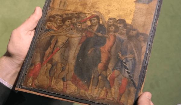 Le tableau «Christ Moqué» a été identifié comme étant l'œuvre du peintre florentin du XIIIe siècle, Cimabue, considéré comme l'un des premiers artistes de la Renaissance en Italie.