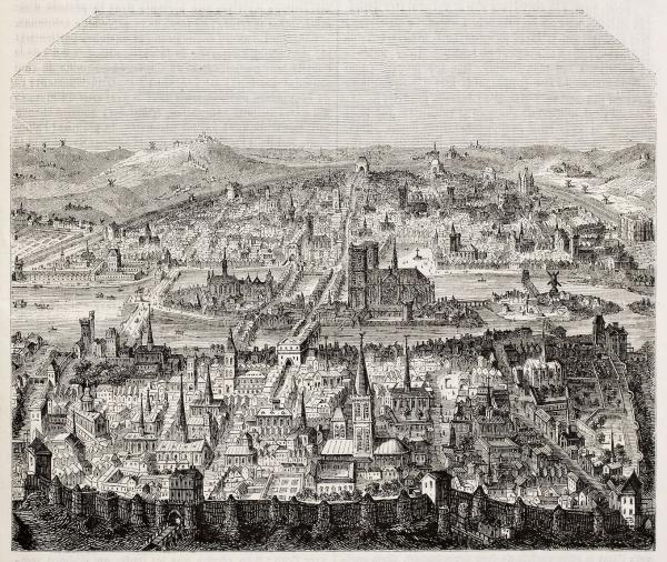Vue de Paris, d'après l'impression de fin du 16ème siècle, publié au Magasin Pittoresque en 1845. ( Image : 123RF)
