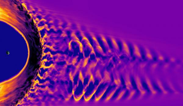 Sur cette image, le point situé sur la gauche représente la Terre et le grand arc qui l'entoure est l'arc de choc magnétique de notre planète. Le motif tourbillonnant à droite est le pré-choc, une région où le vent solaire se brise en vagues lorsqu'il rencontre les particules réfléchies par l'arc de choc. L'image a été créée à l'aide du modèle Vlasiator, une simulation informatique développée à l'Université d'Helsinki pour étudier l'interaction magnétique de la Terre avec le vent solaire. (Image: équipe Vla