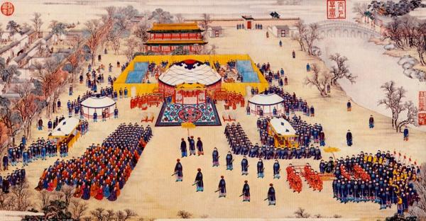 A Victory Banquet Given by the Emperor for the Distinguished Officers and Soldiers of the Rebellion of Huibu (1758-1759). Jesuit painter Giuseppe Castiglione collaborated with Qing artists in producing these engravings (Image: Shenyunperformingarts.org)