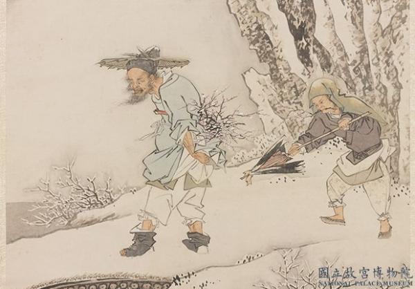 Zhongkui admire les fleurs de prunier sous la neige. (JIN Tingbiao / Dynastie Qing / National Palace Museum / Taiwan)