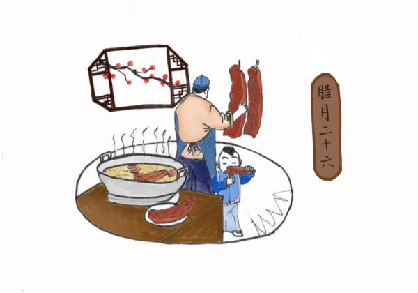 Le 26e jour du mois de La Yue. Couper la viande du nouvel an. (Xiaosui)