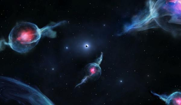 Impression d'artiste des objets G, avec les centres rougeâtres, orbitant autour du trou noir supermassif au centre de notre galaxie. Le trou noir est représenté comme une sphère sombre à l'intérieur d'un anneau blanc (au-dessus du milieu du rendu). (Image: Jack Ciurlo)