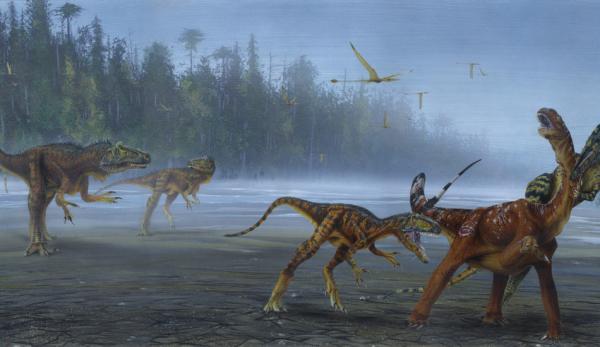 Allosaurus jimmadseni s'attaquant à un sauropode juvénile. (Image: Todd Marshall)