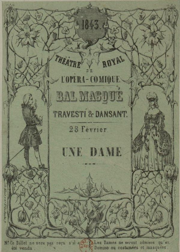 Billet d'entrée au Bal de l'Opéra du Carnaval de Paris en 1843. (Image : Domaine public / Wikipedia)