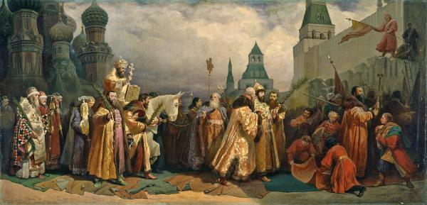Célébration de la fête des Rameaux à Moscou (1865). Selon le calendrier liturgique, le dimanche des rameaux précède le Dimanche de Pâques et marque le début de la semaine sainte. (Image : wikimedia / Vyacheslav Schwarz / Domaine public)