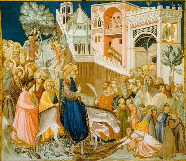 Arrivée du Christ à Jérusalem, par Pietro Lorenze. Cette célébration symbolise l'entrée solennelle de Jésus à Jérusalem. (Image : wikimedia / Pietro lorenzetti / Domaine public)