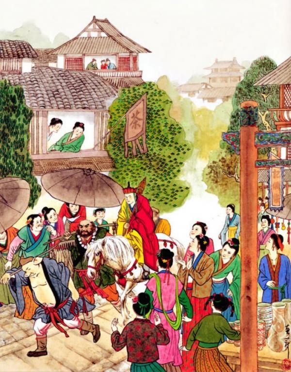 Les pèlerins arrivent dans Royaume des femmes. (Image : Chen Huiguan / Shenyunperformingarts.org)