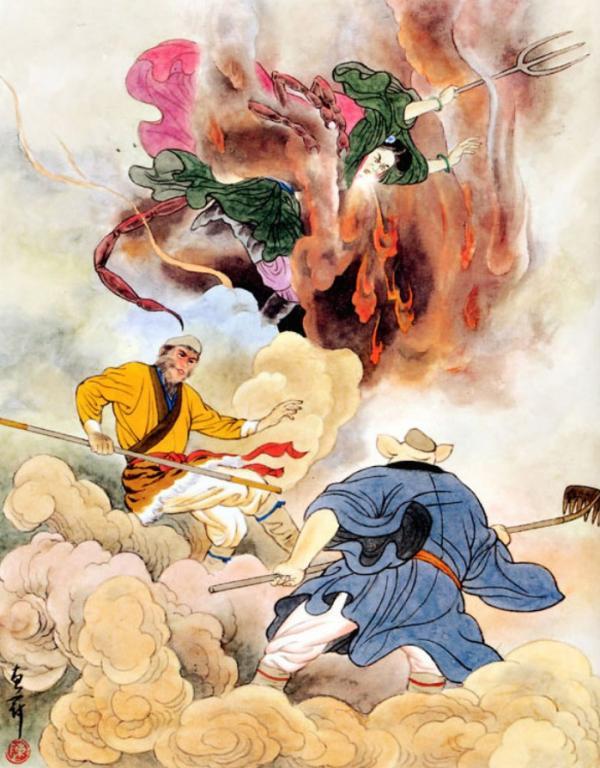 Le démon scorpion révèle sa vraie forme et le combat démarre. (Illustration : Chen Huiguan / Shenyunperformingarts.org)