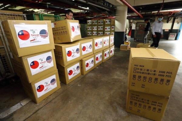 Une partie de la cargaison de masques faciaux donnée aux États-Unis. (Image : Ministère des Affaires étrangères, Taiwan)