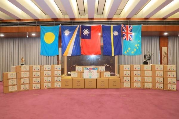 Les masques donnés aux îles Marshall, Nauru,  Palau et Tuvalu. (Image : Ministère des Affaires étrangères, Taiwan)
