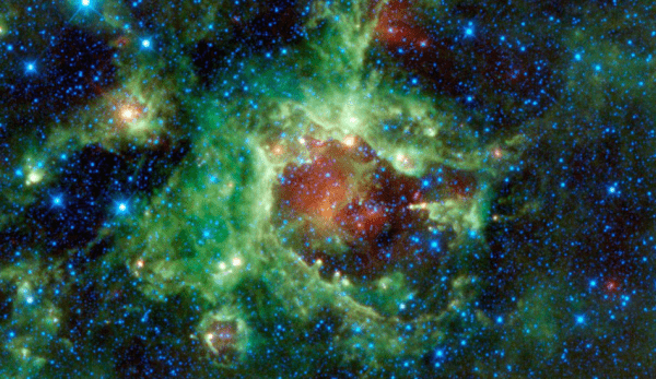 Le centre d'une galaxie nouvellement formée est le foyer où se forment les nouvelles étoiles. (Image :NASA)