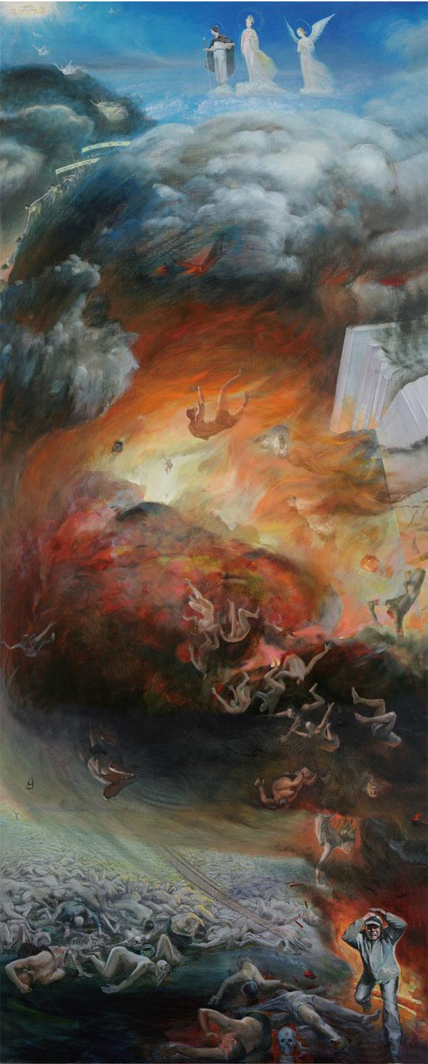 Larmes de tristesse et de joie, Zhang Kunlun, huile sur toile. 120 x 300 cm, 2007.  (Image : Avec l'aimable autorisation de Monsieur Zhang Kunlun. ExpositionZSR)