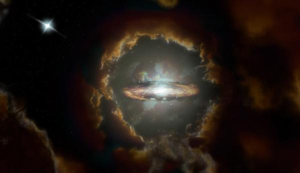 Impression d'artiste du disque de Wolfe, une galaxie à disque rotatif massive dans le premier univers poussiéreux. La galaxie a été découverte initialement lorsque ALMA a examiné la lumière d'un quasar plus éloigné (en haut à gauche). (Image : NRAO / AUI / NSF, S. Dagnello)