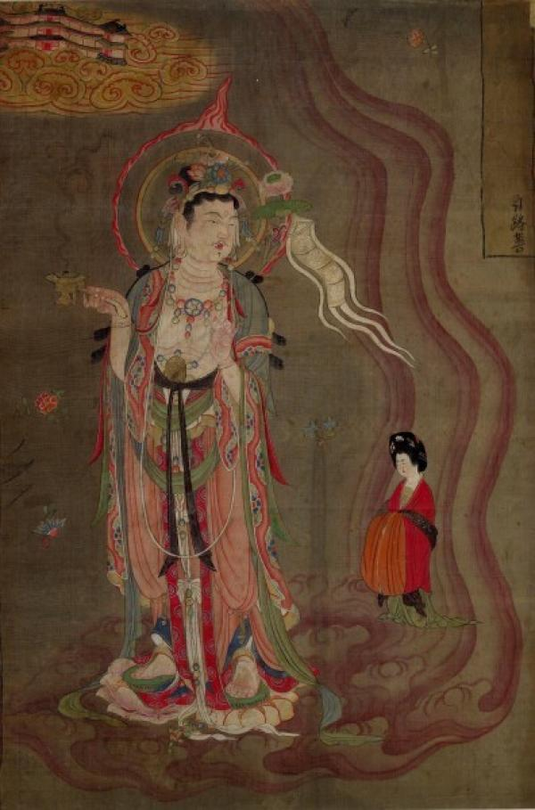 Bodhisattva conduisant une dame charitable vers la Terre Pure. (Image :wikimedia/CC0 1.0)