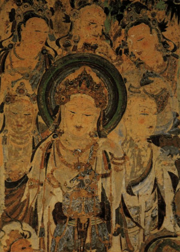 Peinture murale de la Bodhisattva Guanyin, 618-704 après Jésus-Christ, Dynastie Tang, grottes de Mogao, Dunhuang. (Image :wikimedia/CC0 1.0)