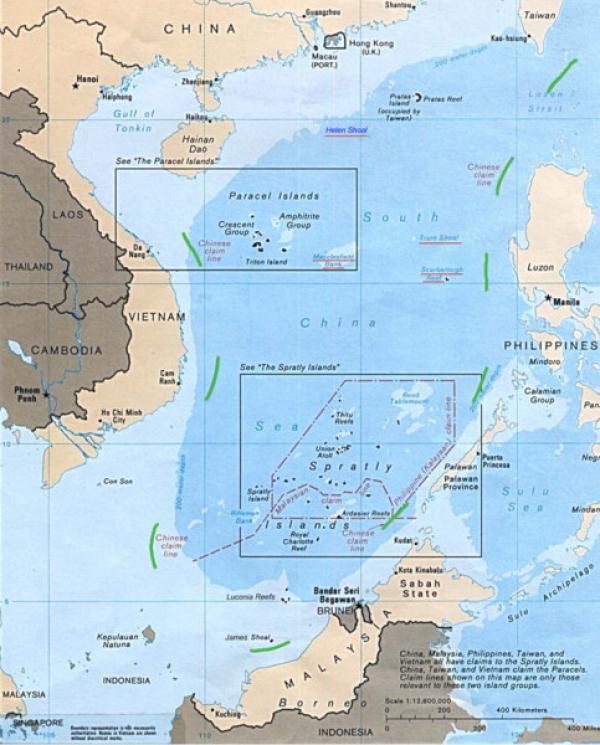 La ligne chinoise Nine-Dash (en vert) a été jugée sans fondement juridique pour les réclamations maritimes par la Cour permanente d'arbitrage de La Haye en 2016. (Image :wikimedia/CC0 1.0)