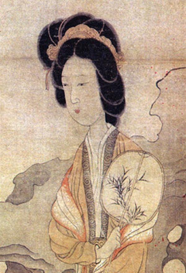 Portrait d'une femme tenant un éventail rigide (ovale) tiré du tableau « Appréciant les prunes » de l'artiste chinois Chen Hongshou. (Image :Wikimedia/CC0 1.0)