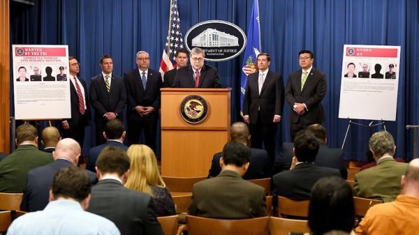 Lors d'une conférence de presse tenue le 10 février 2020, le procureur général William P. Barr, a annoncé qu'un grand jury fédéral d'Atlanta avait rendu un acte d'accusation contre quatre membres de l'Armée populaire de libération de la Chine (APL). (Image : FBI)
