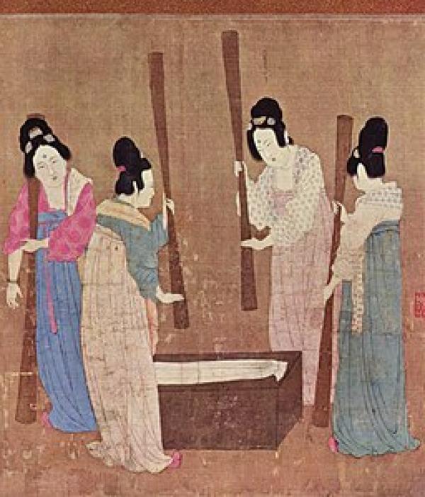 « Battage » de la Soie (Chine, XIIe siècle) ». (Image : wikimedia / Domaine public)