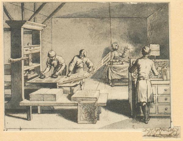 La technique d'impression des caractères mobiles de Gutenberg (Image : wikimedia / Daniel Chodowiecki)