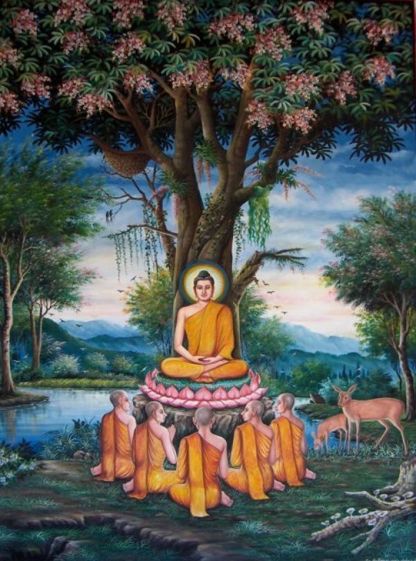 Le Bouddha prononçant le discours de Vârânasî sur les Quatre nobles vérités, pour ses anciens condisciples, à la suite de son éveil. (Image : wikimedia /CC-BY-SA-3.0)