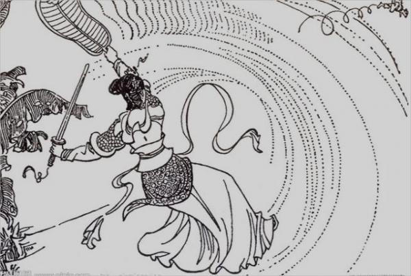 1er round : la princesse à l'éventail de fer envoie le singe voler au loin. (Photo : Shenyunperformingarts.org)