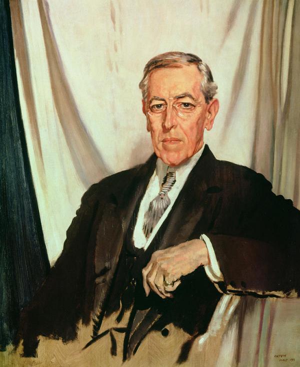 La demande du président Wilson au Congrès était d'entrer en guerre afin d'obtenir «la paix dans le monde pour l'établissement de la démocratie». (Image : Wikimedia / William Orpen / Domaine public)