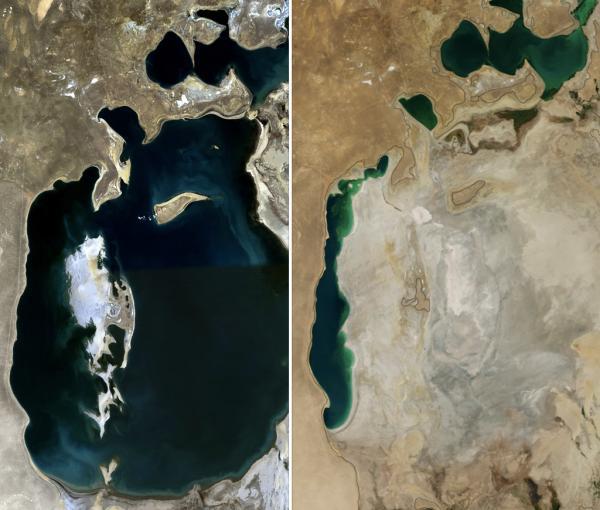 La mer d'Aral asséchée en quelques dizaines d'années. (Image : Wikimedia / NASA. Collage by Producercunningham / Domaine public)