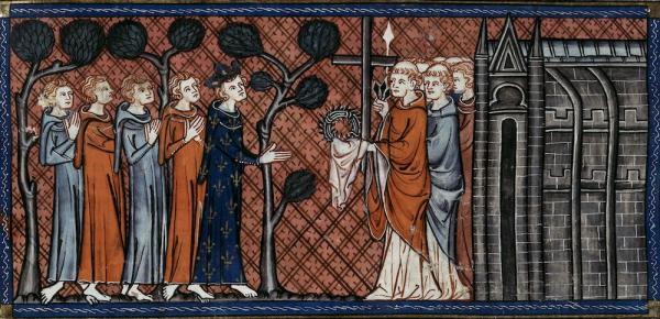 Saint Louis IX de France recevant la couronne d'épines, la Sainte Lance, la Vraie Croix et d'autres reliques de Constantinople. (Image : Chroniques de Saint-Denis / Domaine public)