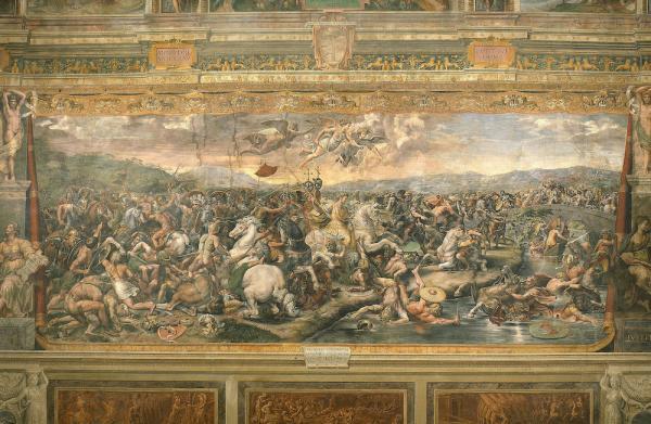 La bataille du pont de Milvius en 312, qui verra la victoire de Constantin Ier grâce à sa vision, avant la bataille: celle de la croix et d'un chrisme. (Image : Wikimedia / Giulio Romano / Domaine public)