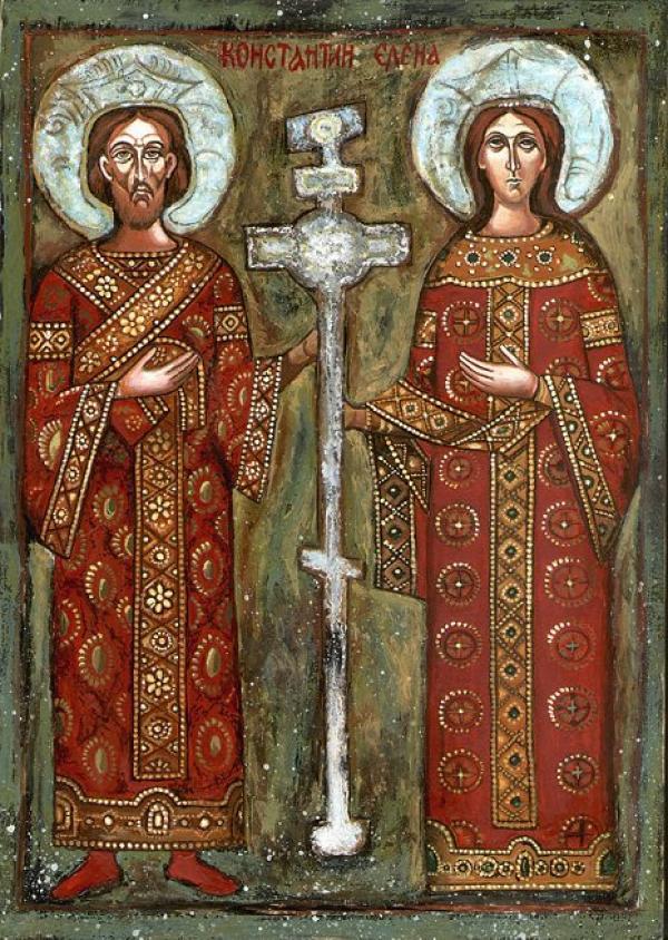 Constantin et sa mère Hélène représentés en icône orthodoxe bulgare. (Image : Wikimedia / Brosen / CC BY-SA)