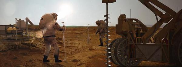 Représentation artistique d'astronautes en train de forer pour trouver de l'eau sur Mars lors d'une mission future sur la planète rouge. (Image : NASA Langley Advanced Concepts Lab / Analytical Mechanics Associates)