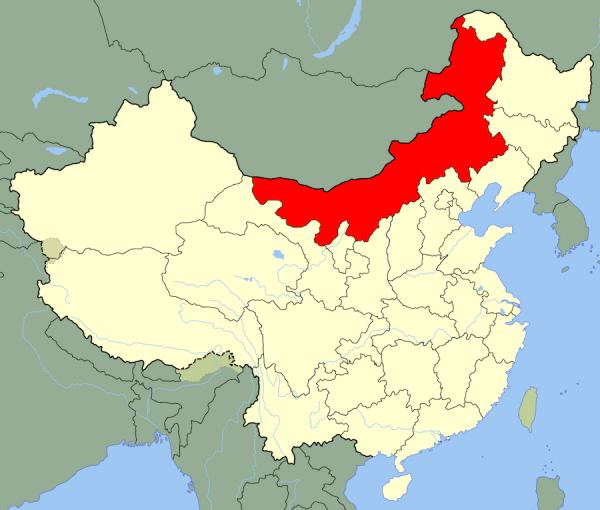 Carte indiquant la localisation de la Mongolie-Intérieure (en rouge) à l'intérieur de la Chine. (Image : Wikimedia / Joowwww / Domaine public)