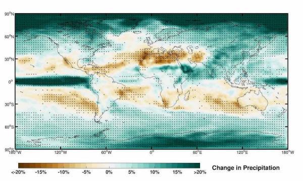 Changements prévus dans les précipitations d'ici la fin du siècle, dans le cadre du scénario RCP4.5. L'augmentation de la sécheresse sur la Méditerranée, la Californie, l'Australie et le Brésil est liée à l'expansion tropicale. Dans ces régions, des incendies de forêt ont été fréquemment signalés ces dernières années, très probablement en raison de l'expansion des tropiques sous l'effet du réchauffement climatique. (Image :Alfred-Wegener-Institut / Hu Yang)