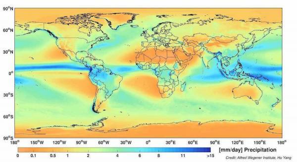 Modèles climatologiques des précipitations mondiales. La partie centrale des tropiques est humide et luxuriante, tandis que les limites des tropiques sont sèches et arides. (Image : Alfred-Wegener-Institut / Hu Yang)