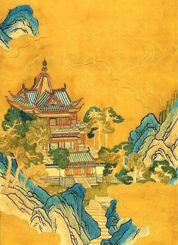 Montagne des immortels, en soie gravée, dynastie Song. (Image : Musée national du Palais, Taipei)