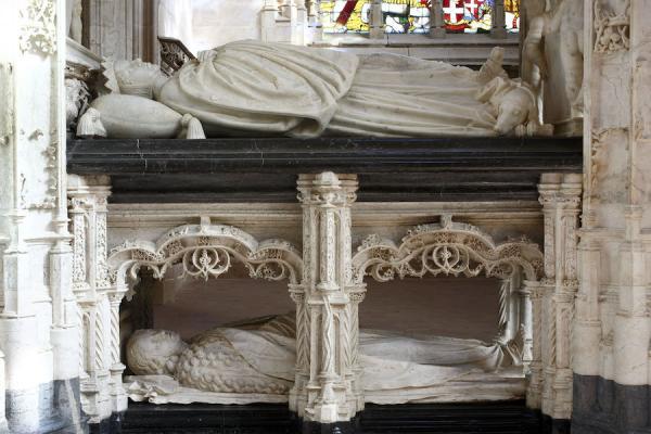 Eglise Saint-Nicolas-de-Tolentin de Brou, tombeau de Marguerite d'Autriche, transi et gisant. (Image : © David Bordes - CMN.jpg – Photo de presse)