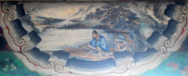 Bo Ya jouait au Guqin. (Image : Wikimedia / shizhao(talk) 拍攝 / Fresque au Palais d'été, Pékin / Domaine public)