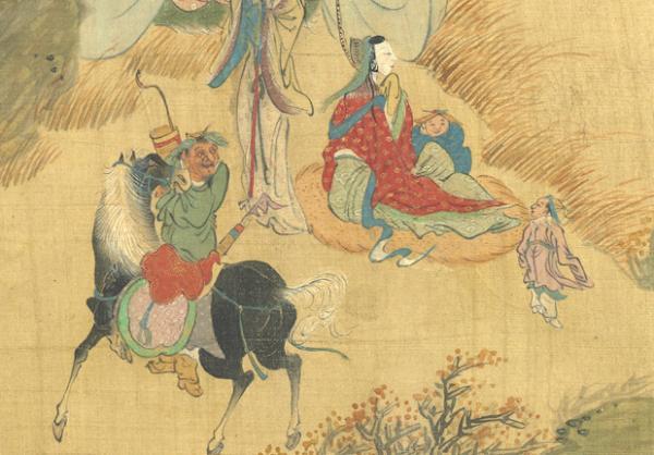 La servante protège le jeune prince (illustration) Dix-huit chansons à la flûte nomade, Peint par Qiu Ying, Dynastie Ming (1368-1644). (Image : Musée national du Palais, Taipei / @CC BY4.0)