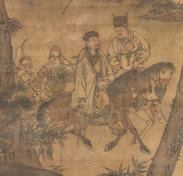Le tableau Kongming quittant les montagnes (dynastie Ming), représentant Zhuge Liang (à gauche) quittant sa retraite rustique pour entrer au service de Liu Bei (à droite). (Image : Wikimedia / CC0 1.0)